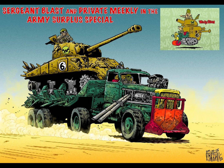 Sargento Bombarda e Soldado Meekley no Carro Tanque