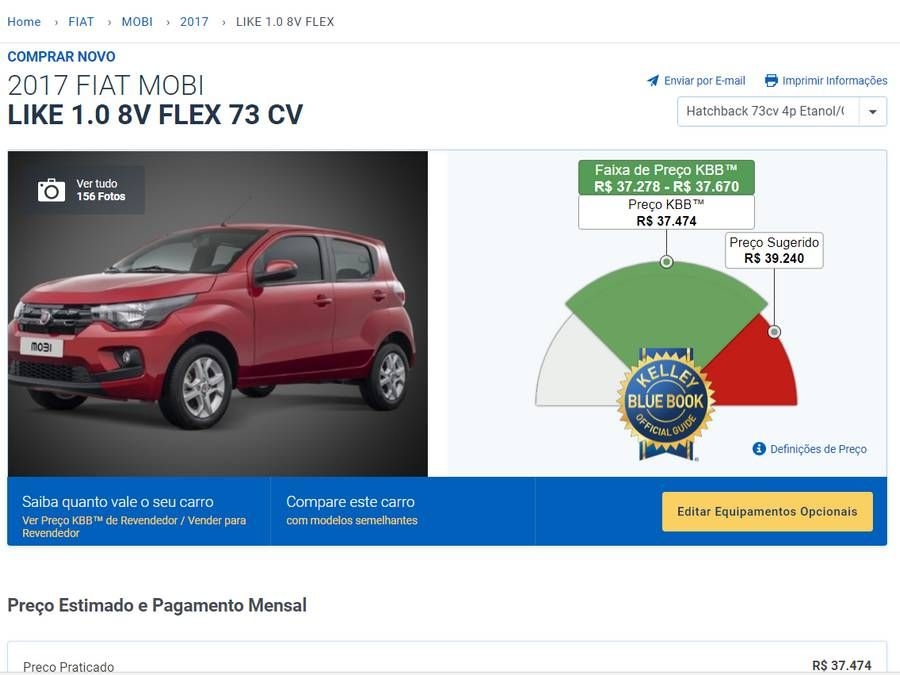 Fiat Mobi Like - Preço KBB